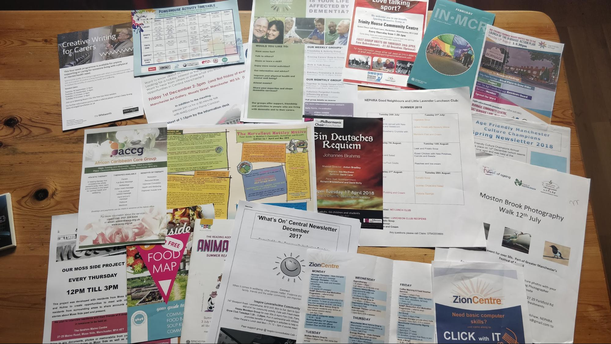 Some of the flyers and posters we collected for events in our area